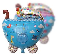 baby toys online - Baby Strollers Balloons Birthday Party Color Foil Cartoon Balloon Baby Kids Birthday Gift Toys Online SD481
