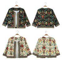 antique embroidered - New arrival European Women Coat Outerwears Antique Floral Print Embroidered Long Sleeve Casual Ladies Cardigan Jacket Clothes G1516