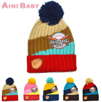 baby softball - Softball Knitting Wool Kids Beanies Baby Infant Toddler Girl Cap For Boy Warm Hat Children Winter Hat Baby Thick Accessories