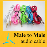 Wholesale 3 mm AUX Audio Cables Male To Male Stereo Car Extension Colorful Audio Cable For MP3 Cell Phone