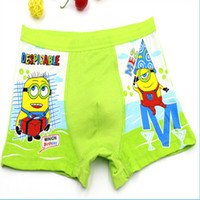 Wholesale Minions Briefs BoxersCartoon Printing Plaid Cotton Despicable Me Adorable Kids Underwear Briefs Children Boys Underwears