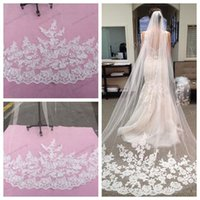 beautiful bridal veils - 2015 Bridal Accessories Wedding Dresses Veils White Ivory Beautiful Cathedral Length Lace Edge Long Bride Veil New Cheap Bridal Accessory