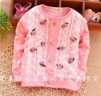 baby outer jacket - 2016 Spring Baby Girls T shirt Dress Bow Lace Flower Cardigan Coat Infant Toddler Children Tops Clothes Princess Jacket Upper Outer Garments