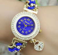 quartz crystal skull - Newest Luxury Crystal geneva watch Braided Rope weave handmade bracelet watch with Skull Heart Pendant women ladies fashion dress Watch