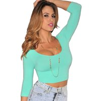 Wholesale New arrival black white and green o neck cropped comfortable three quarter t shirt women hot selling slim crop top