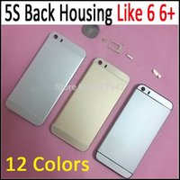 Wholesale For iPhone Style Back Housing for iPhone S Alloy Metal Back Battery Cover Case Housing Replacement Battery Door for iphone5S Colors