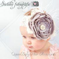 baby couture - Grey Layered Poppy Flower Matching Satin Rosette Baby Girl Headband Couture Headband Luxe Headband