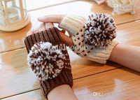 ball of yarn - Korean winter cute ball of yarn knitted thick wool warm half finger gloves computer mittens