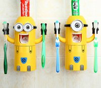 Wholesale 100PCS LJJH548 In Stock Cute Despicable Me Minions Design Set Cartoon Toothbrush Holder Automatic Toothpaste Dispenser with Brush Cup