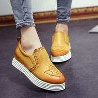 Best price 2014 New PU Leather Flats Women Shoelace Gold Silver Brogue Oxfords Shoes Ladies High Quality British Leather Casual Flat shoes