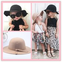 big brim hats - Baby Wool Felt Hat Winter Girls Gorgeous Bowknot Big Brim Floopy Hats Cap Kids Accessories Children Fedoras Casual Caps colors