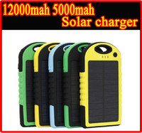 mixed B D HOT Waterproof 12000mAh 12000 mAh 5000mAh 5000 mAh Solar Charger Portable Dual USB LED Light Battery Solar Panel power bank External Battery