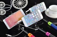 android remote audio - Audio cable wired Selfie Stick Extendable Handheld Remote Shutter Monopod for iPhone IOS Android Galaxy note S4 factory price