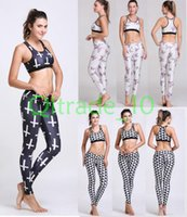 Wholesale 100SET LJJH986 Fitness Workout Clothing Women Gym Sports Running Girls Slim Leggings Tops Women Yoga Sets Sport Suit For Female