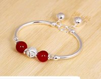 agate bangle - Two Colors Pure S990 Sliver Bracelets Bangles for Women Silver Bangles with Agate