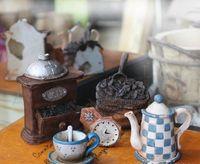 background settings - set Antique Finish Mini Teatime Coffee Utensils For Dollhouse Shooting Background Settings For Dolls