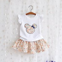 Cheap 2015 New Mickey Minnie Mouse Girls Dresses Girls Outfit Baby Set Kids Suit t-shirt+Tutu Skirt Floral Girls Clothes Cartoon Kids Clothing