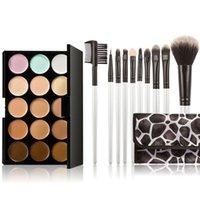 Wholesale 15 Colors Contour Face Cream Makeup Concealer Naked Palette Professional Pink Make Up Blending Brush Set PTSP