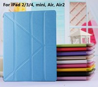 Wholesale ePacket For iPad6 Air2 Transformer Wake Sleep Silk Leather Case Smart Cover Stand Clear Crystal Case For iPad Air mini