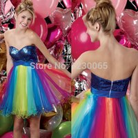bamboo cocktail - Sexy Colorful Rainbow tulle blue paillette Sweetheart Robe De Cocktail Dress evening gown short prom dresses