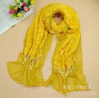 big lace scarf - Fashion Design Brand Lady s Warmer Scarves Lint Double deck Scarf Neckchief Lace Big Size Scarfs Mix Color