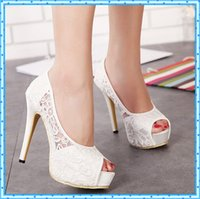 pink high heel shoes - Sexy High Heels Platform heels Woman lace white Wedding Shoes Women Pumps Peep Toe Stiletto Heels Sapato Feminino pink shoes D96