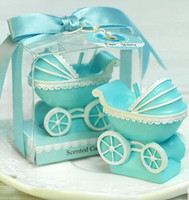 baby shower candles favors - 50pcs wedding favors and gifts creative Baby shower favors birthday part baby carriage christening Christmas candles
