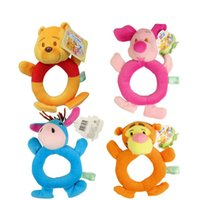 Wholesale 1Pcs Baby Animal Model Catoon Hand Bell Ring Rattles Kid Plush Soft Toys