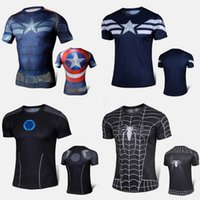 under-armour - Marvel Super Heroes Avengers Captain America T shirt Men Compression Armour Base Layer Thermal Under Top Sport fitness T shirt Superhero