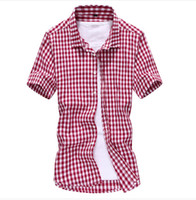 oxford shirts - New Summer Oxford Style Men Plaid Shirts Short Sleeve Camisas Hombre Slim Fit Casual Cotton Mens Dress Shirt Plus Size XL