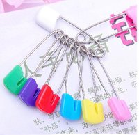 Wholesale On sale candy DIY stainless steel safety pin Needles Infant Pins Brooch U Shape Groove Plastic Head Locking Baby Cloth pins Findings