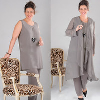 Wholesale Elegant Gray Mother of the bride Dresses Long Sleeve Plus Size Mother Of The Bride Pant Dresses Suits With Jacket Customer Made