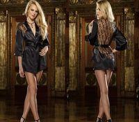 silk dress shirt - 2015 New women Black Sexy Silk Lace Kimono Dressing Gown Bath Robe Lingerie Nightdress Lingerie Nightwear Underwear G string
