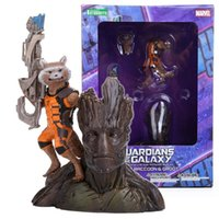 Cheap Guardians of the Galaxy Groot & Rocket Raccoon PVC Action Figure Collectible Model Toy 14CM MVFG303