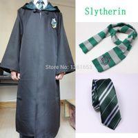 Wholesale Harry Potter Gryffindor Slytherin Ravenclaw Hufflepuff Adult Cosplay costume set Cloak Robe Cloak Scarf Tie Cape Halloween