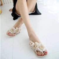 Wholesale 2015 New Summer Hot Women Sandals With Beautiful Camellia Flower Sweet Flip Flops XWZ455