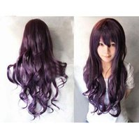 Wholesale High temperature silk purple cartoon ms long curly wig hair fleeciness lady cartoon wig fashion lady party wigs