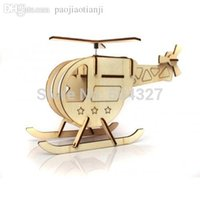 Wholesale EMS Pieces DIY Solar Powered Toy Eco friendly DIY Helicopter Solar Wooden Toy