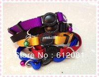Wholesale adjustable breakaway safety buckle cat nylon solid color pure color collar puppy collar five colors