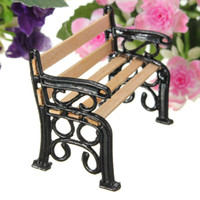 Wholesale Special Offer European Style Wooden Park Bench Model Doll House Miniature Garden Landscape Microlandschaft Accessories