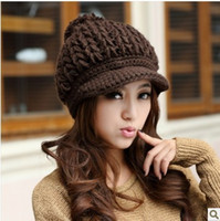 Wholesale 2016 Korean version of the new winter wool hand knit cap buttons outdoor warm hat millinery tide