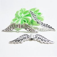 Wholesale 50PCS x11mm Pretty Metal Hollow Angel Wing Charms DIY Tibetan Silver Charm Beads Findings