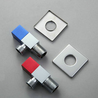 Wholesale 1 Pair Copper Square Triangle Valve Aluminum Handle Angle Valve Blue And Red