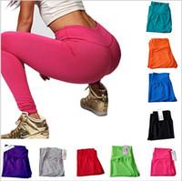 wholesale yoga pants - New Women Yoga Running Pants Fashion High Waist Trousers Leggings High Elastic Fitness Sports Gym Clothes