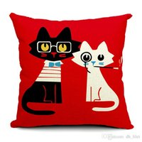 Wholesale Simple Europe Style White Black Cat Thick pounds Print Car Sofa Office Pillowcase Pillow Cover Cushion Hotel Home Decoration Retail