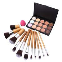 Wholesale 15 Colors Face Concealer Camouflage Cream Contour Make Up Palette Sponge Puff PC Bamboo Brush Set PTSP