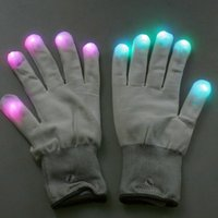air rave - Mode LED Rave Light Glow Mitt White Finger Lighting Flashing Gloves with good air permeability MFBS