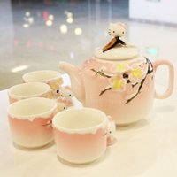 bone china tea cup - New arrival Hello Kitty lovely fIve pieces set ceramic tea set teapot cups Kung fu tea set wedding gifts birthday gifts