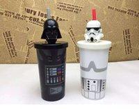 Wholesale Star Wars Cups New Cartoon Star war mugs straw cup bottles Darth Vader stormtrooper Helmet mugs drink cups F133