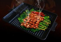 Wholesale BBQ Rectangular baking pan barbecue grill pan non stick pan